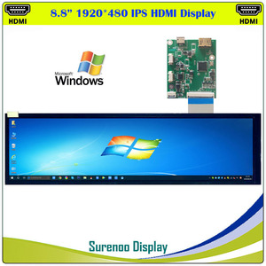 "8.8"" 1920*480 4:1 HDMI IPS LCD Module Monitor Display Screen Panel LCM Hannstar HSD088IPW1 MIPI to Mini HDMI for Windows(China)"