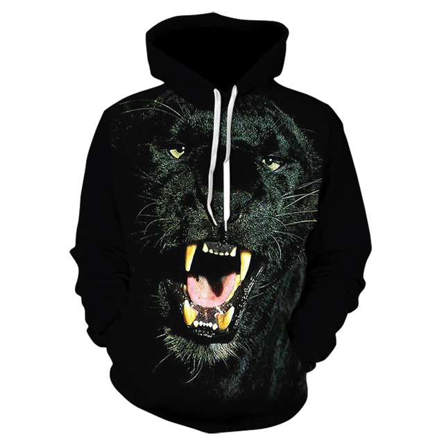 Men's fall regular animal pullover hoodie, innovative print Wolf men and women street wear wind long sleeve hoodie