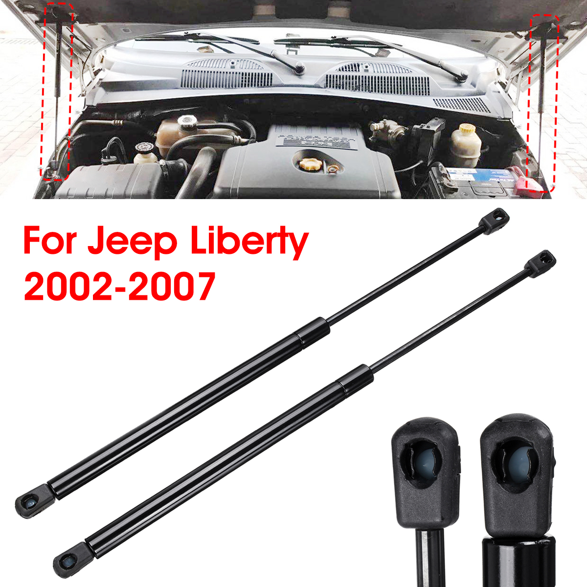 2 Front Hood Lift Supports Struts Shocks Gas Springs For Jeep Liberty 2002-2007