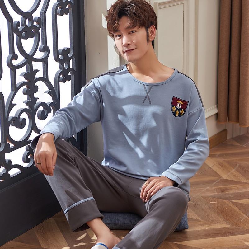 Free Shipping Winter And Autumn Mens Pyjamas 100% Cotton Pajamas Long-sleeve Casual Men Pajama Set Plus Size L-3XL Sleepwear