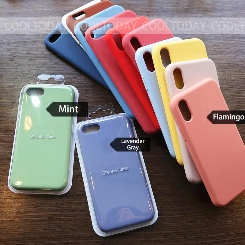 Luxury Original Official Silicone with LOGO Case For iPhone 7 8 Plus Case For Apple iPhone X XS Max XR 6 6S Plus 5 5S SE Cover
