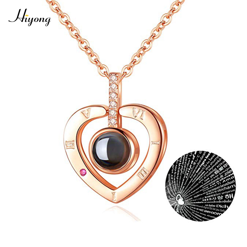 I Love You Necklace 100 Languages Heart Love Necklace Love Memory Projection Pendant Necklace For Women Gifts For Mother's Day