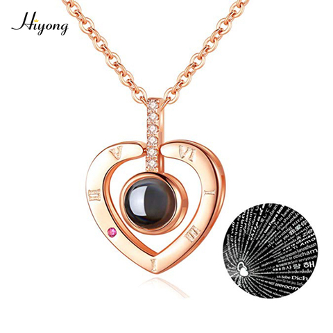 I Love You Necklace 100 Languages Heart Love Necklace Love Memory Projection Pendant Necklace for Women Gifts for Mothers Day Pakistan