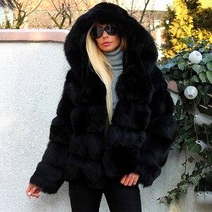 Image 2 - Mode luxe noir épais réel fourrure de renard manteaux avec capuche pour les femmes pleine peau courte véritable fourrure de renard vestes femme manteau dhiver