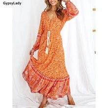Винтажное Цветочное платье макси gypsylady женские осенние платья