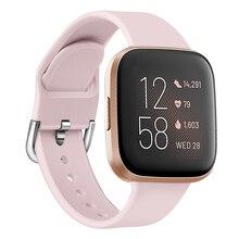 Duszake רצועת עבור Fitbit Versa/Versa 2 להקת מתכוונן החלפת צמיד עבור Fitbit Versa 2 סיליקון חכם שעון רצועה