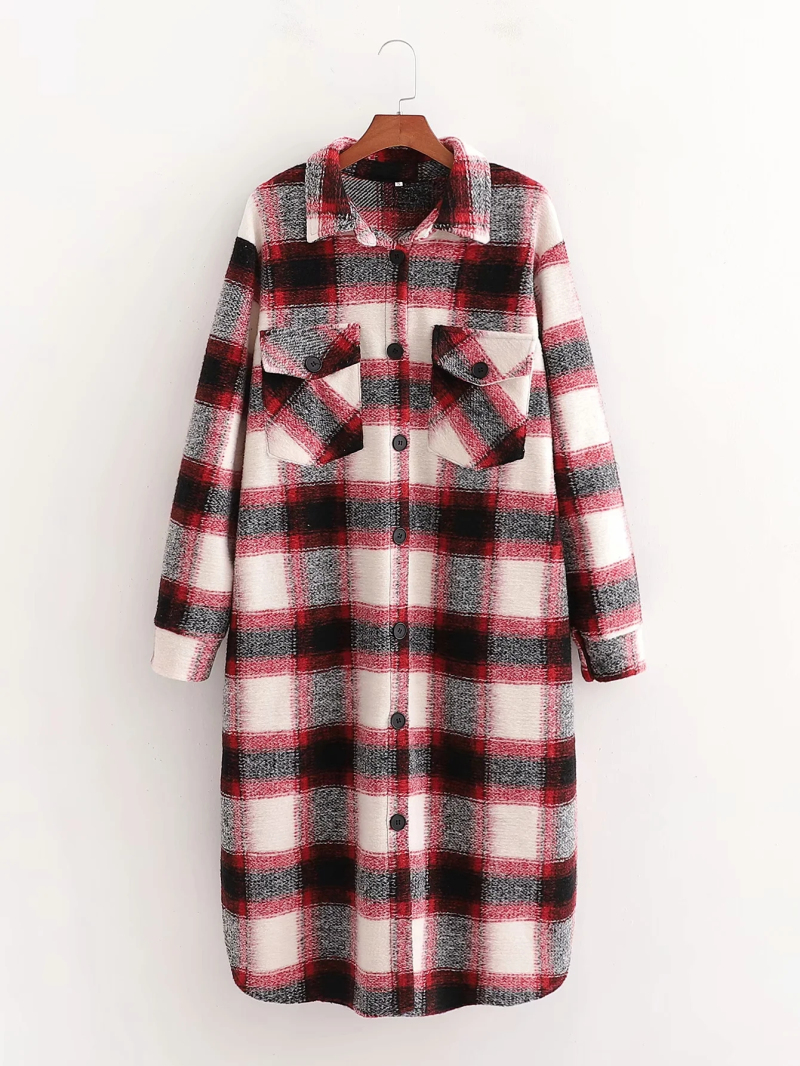 Vintage Chic Red Plaid Pockets Long Woolen Jacket Women Fashion Turn down Collar Single Breasted Coat Outerwear|Jackets| - AliExpress