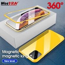Магнитный адсорбционный чехол ярких цветов 360 на для iPhone 11 Pro MAX чехол из закаленного стекла для iPhone XS MAX XR X 7 8 Plus чехол на для айфон 11 Pro Max X XR XS MAX 7 8 плюс