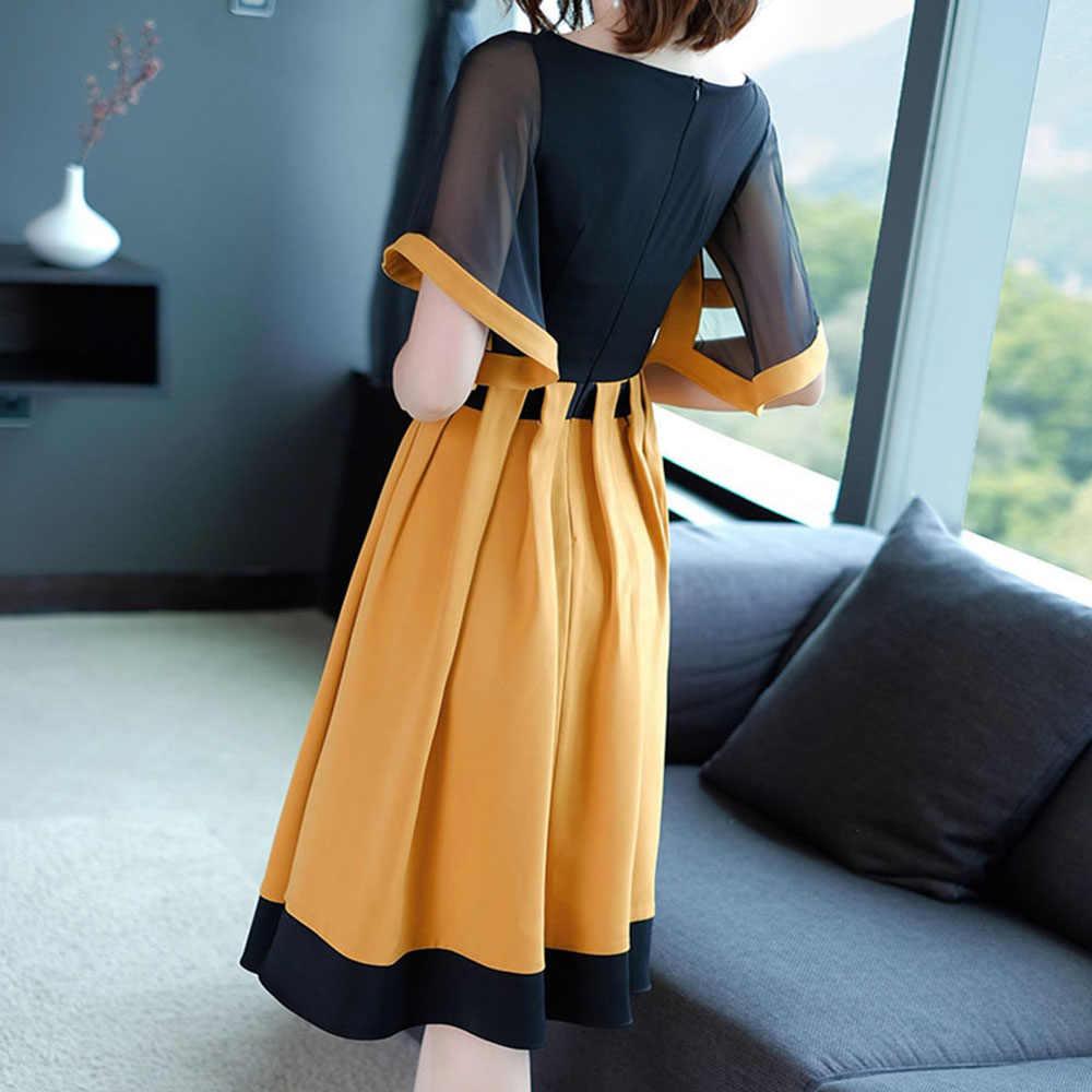 Bohoartist, летнее женское платье, цветной блок, короткий рукав, пэчворк, о-образный вырез, желтое платье трапециевидной формы, 2019, Элегантные повседневные платья для девочек