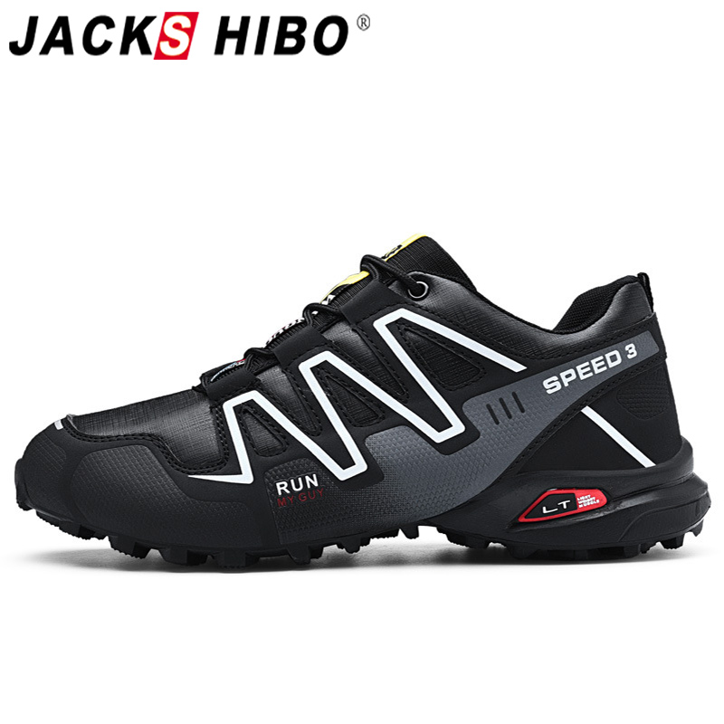 Jackshibo Men Breathable hiking shoes Outdoor Mountaineer Climbing Sneakers Non-slip Camping shoes for Men Tactical Shoes Men
