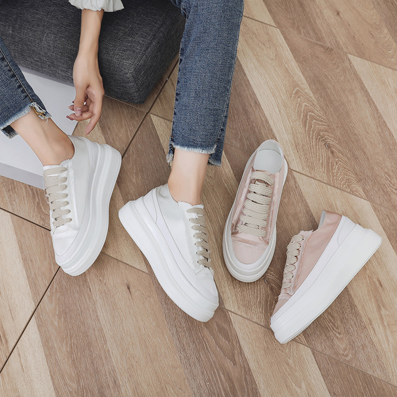 Tleni 2019 Spring And Summer Wild Korean Version Of The Muffin Thickening Inside The Increase In Sports White Shoes Women ZD-10