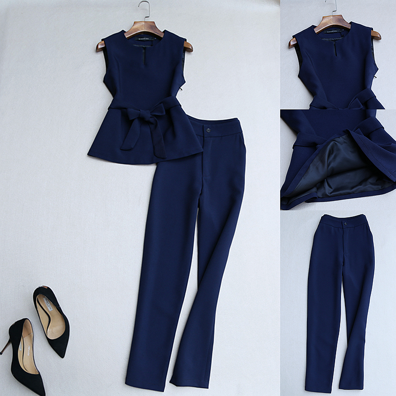 2 Piece Set Women Autumn New Fashion Temperament Suit Sleeveless Suit Vest Belt Slim High Waist Pants Pants Two Sets Of Tide