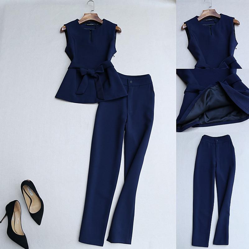 2 piece set women autumn new fashion temperament suit sleeveless suit vest belt slim high waist pants pants two sets of tide