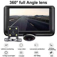 Speed & Coordinates GPS Car Dash Camera Voice Control 4.5 Inch IPS 360 Degree Rotating Dual Lens Camera Car Driving Video Record