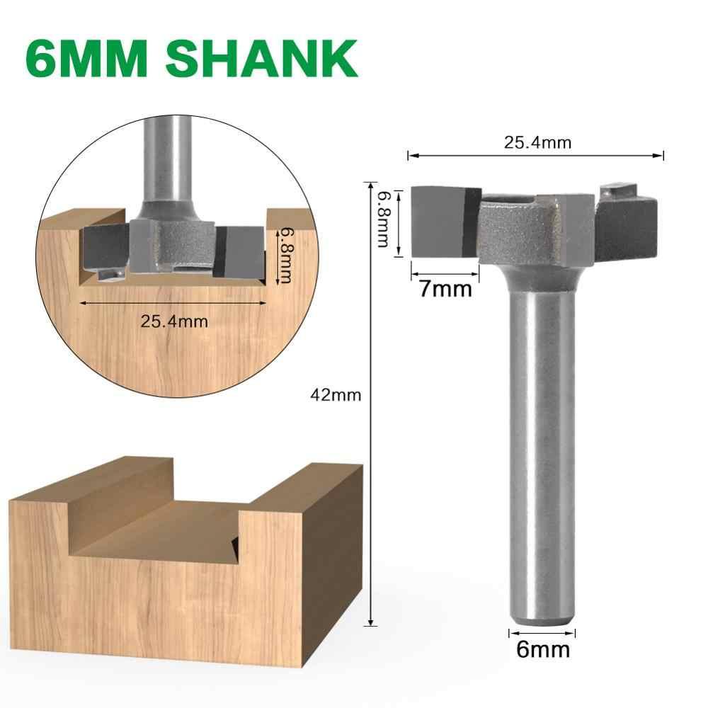 6 мм хвостовик 1/4 дюйма хвостовик 3 Зубья Т-образная фреза фрезерный станок с прямой кромкой долбежная фреза режущая рукоятка для деревообработки