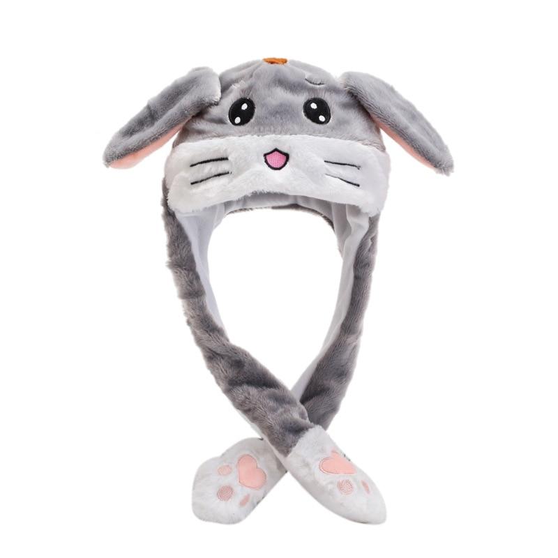 Kocozo, шапка кролика, подвижные уши, милая мультяшная игрушка, шапка, подушка безопасности, Kawaii, забавная шапка-игрушка, Детская плюшевая игрушка, подарок на день рождения, шапка для девочек - Цвет: Gray tiger