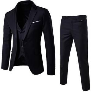 Vest Suits Pant Blazer Wedding-Set Terno Business-Dress Classic Black Male Formal Slim