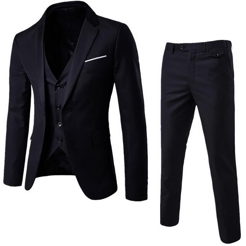 (Blazer+Pant+Vest) 3Pcs/Set Black Suits Slim Wedding Set Classic Blazers Male Formal Business Dress Suit Male Terno Masculino