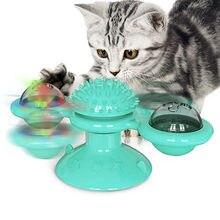 Brinquedo do gato do moinho de vento led turntable provocando brinquedo do animal de estimação giratório interativo quebra-cabeça treinamento gato arranhando cócegas gatinho jogar brinquedos