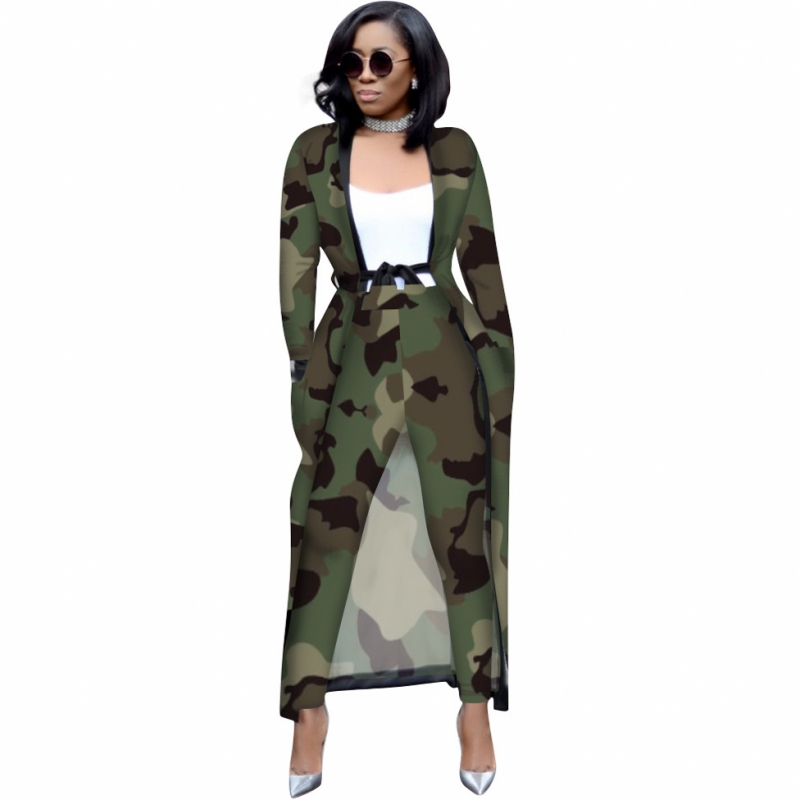 Spring Autumn 2 Piece Set Women Cardigan Long Trench Tops And Bodycon Pant Suit Casual Clothes Boho Sexy Two Piece Outfits