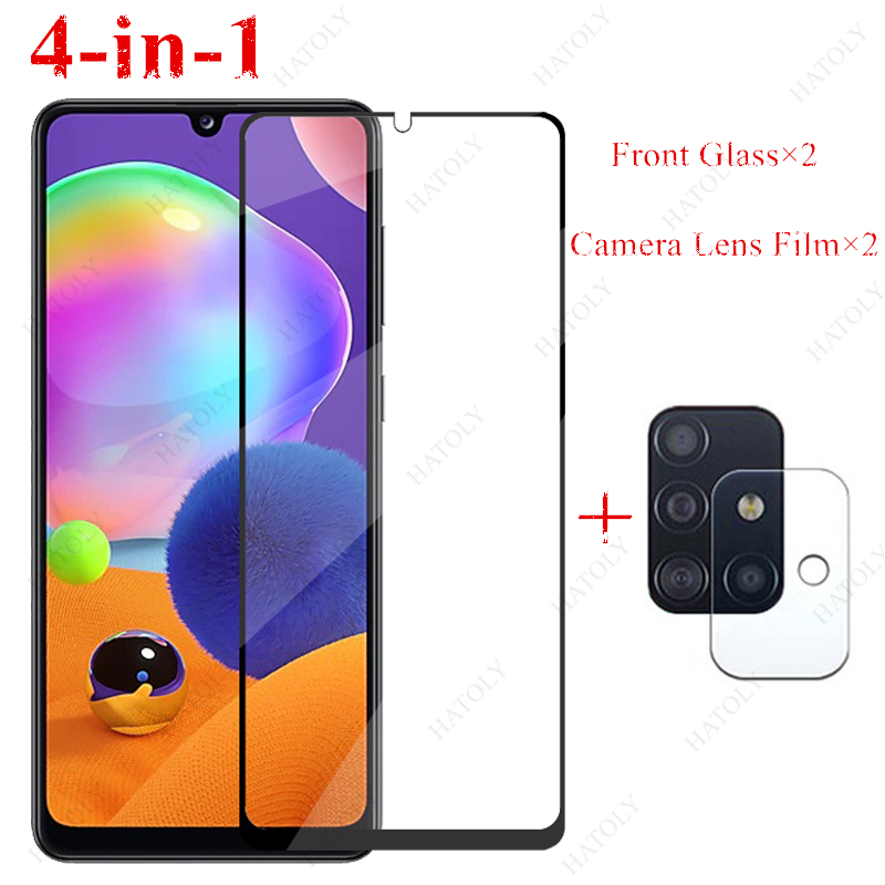 2PCS Glass For Samsung Galaxy A31 A41 A51 A71 A21 A11 A01 M31 M21 A50S A30S A10S Tempered Glass Screen Protector Camera Len Film