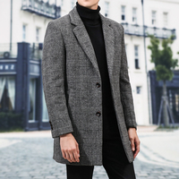 Winter Woolen Coat Men's Slim Fashion Retro Casual Tartan Jacket Man Streetwear Wild Long Woolen Coat Male Overcoat M 3XL