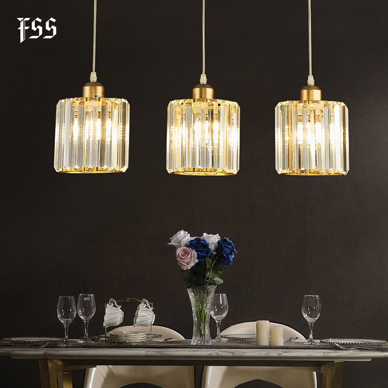 FSS Modern Clear Glass Pendant Lights Creative Round Kitchen Island Home Lighting Bar Lights Indoor Light Fixtures AC 110-240V