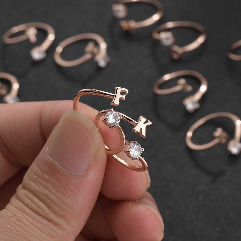 Nowy styl etniczny list kwiat cyrkon pierścień dla damska biżuteria zaręczynowa romantyczny rocznica kochanka prezent moda Party pierścień