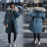Women's Down Jacket Fur Hooded Thicken Zipper Female Jacket Long Down Jacket Women Casual Solid Long Sleeve Warm Cotton Coats