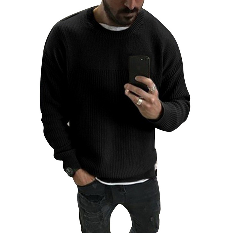 Mens Fashion Autumn Winter Long Sleeved O-neck Knitted Pullovers 2019 New Males Warm Soft Loose Slim Fit Casual Sweaters