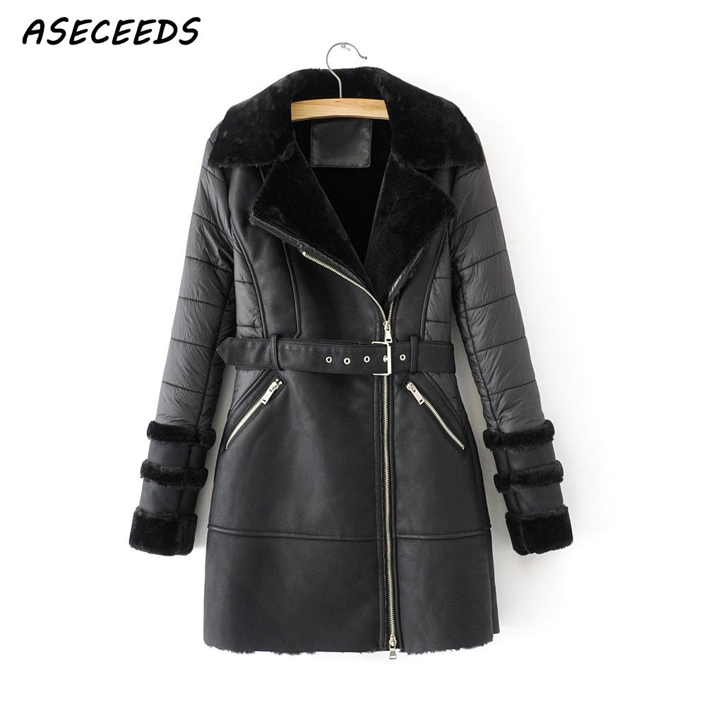 Winter vintage faux Leather Jacket women leather coat streetwaer  sasher long coat korean windbreaker black Biker jacket 2019