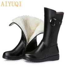 Women Boots Shoes Motorcycle-Boots Large-Size Winter Genuine-Leather AIYUQI Wool