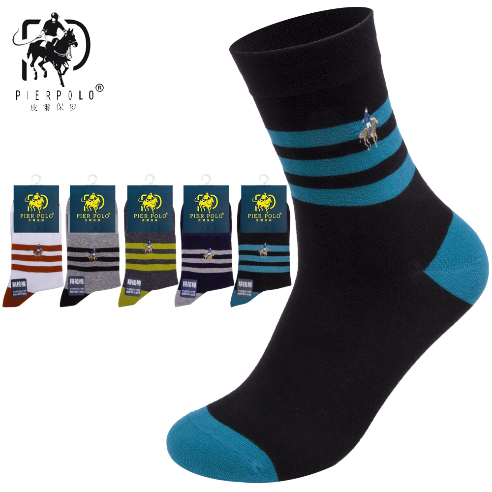 High Quality Fashion Striped 5 Pairs Brand PIER POLO Casual Cotton Socks Business Embroidery Men's Socks Manufacturer Wholesale