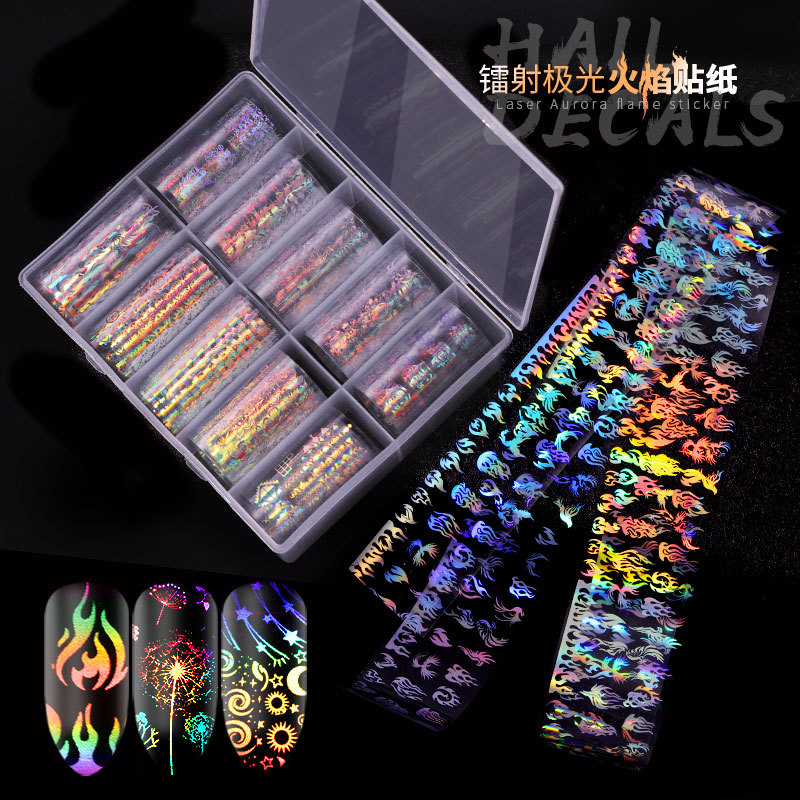 Manicure Star Adhesive Paper New Style Laser Flame Europe And America Popular Elements Nail Sticker Women's Nail Sticker 10-Mixe