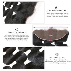 Image 5 - 女王ヘアケア製品本体波透明レース前頭閉鎖 13x4 ブラジルバージンヘア自然な色 100% 人毛