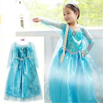 Lovely Baby Girls Dress Kids Frozen Costume Dress Snow Princess Queen Dress Party Gown Cosplay Tulle Dresses For Girls 3-8Y black flower baby girls tutu dress sleeveless tulle halloween cosplay animal cat costume for girls kids birthday party dresses