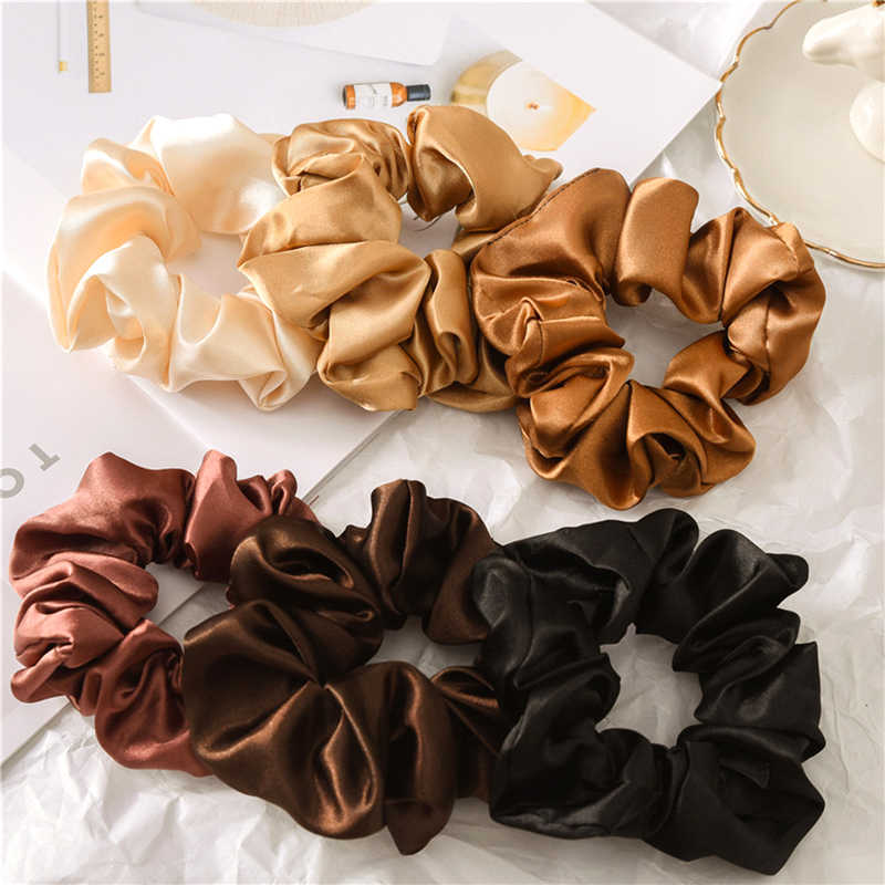 Women Reflect Light Hair Bands Satin Solid Color Silk Hair Ties Scrunchie Ponytail Holder Hair Accessories Headband For Women