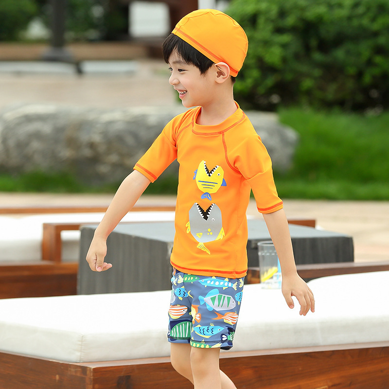 Children Hot Springs Bathing Suit 2019 New Style Boy Medium-small Big Kid Split Type Boxer Wicking Breathable Hot Springs-