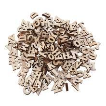 Jouet éducatif de bricolage, 200/100 pièces, petite tranche de bois naturel, embellissements de Scrapbooking, bricolage artisanal (motif de lettres anglaises)