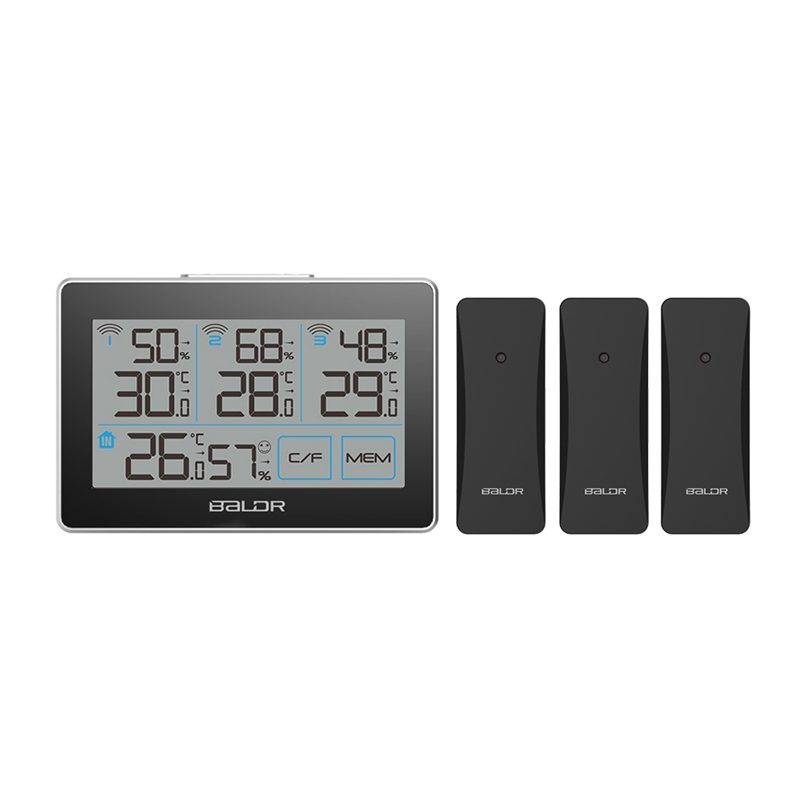 Baldr Wireless Weather Station Touch Screen LCD Thermometer Hygrometer Indoor Outdoor Comfort Weather Forecast + 3 Remote Sensor