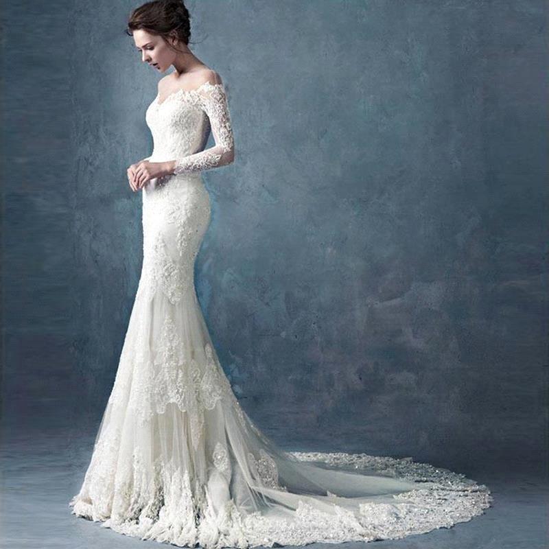 Wedding Dress 2019 Long Sleeves Merimaid Sweetheart Applique Plus Size For Girls Vestido De Noiva Dubai Arabic Vestido De Novia