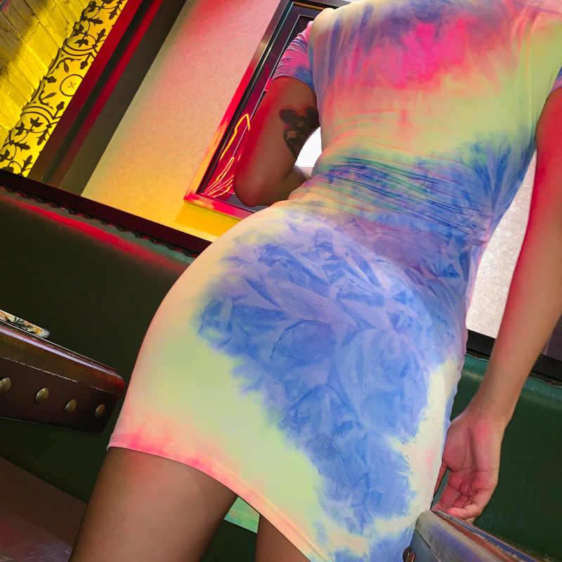 Toplook «вареный» платье с принтом Для женщин летние 2019 короткий рукав Уличная мода, вечеринки Открытое платье без рукавов Яркие вечерние пикантные Мини-платья Vestidos