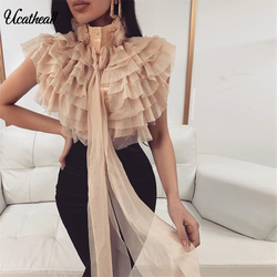 Summer Bowknot Bow Tie Sheer Blouse Women Refflue Shirt Top Office Lady Sexy Elegant Blouses Tops Femininos