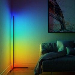 Rgb conduziu a lâmpada de assoalho moderno dimmer luz branca quente app controle remoto em pé lâmpada leitura para escritório estudo quarto novo dropship