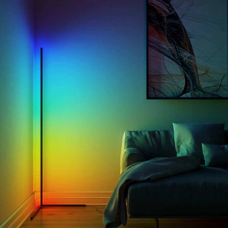 RGB LED Floor Lamp Modern Dimmer Warm White Light Remote Control Standing Reading Lamp For Office Study Bedroom New Dropship