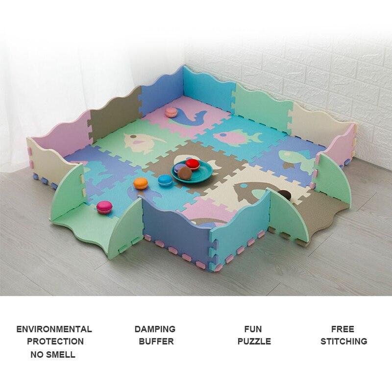 25Pcs/Lot Children's Rug Cartoon Pattern Summer Carpet EVA Foam Puzzle Mats Baby Play Mat Toys Floor Playmat With Fence 30*30 CM