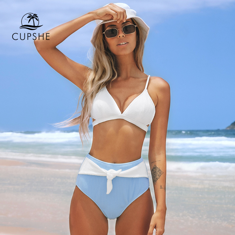 CUPSHE White And Blue Knotted High Waisted Bikini Sets Sexy Bikinis Swimsuit Two Pieces Swimwear Women 2020 Beach Bathing Suit