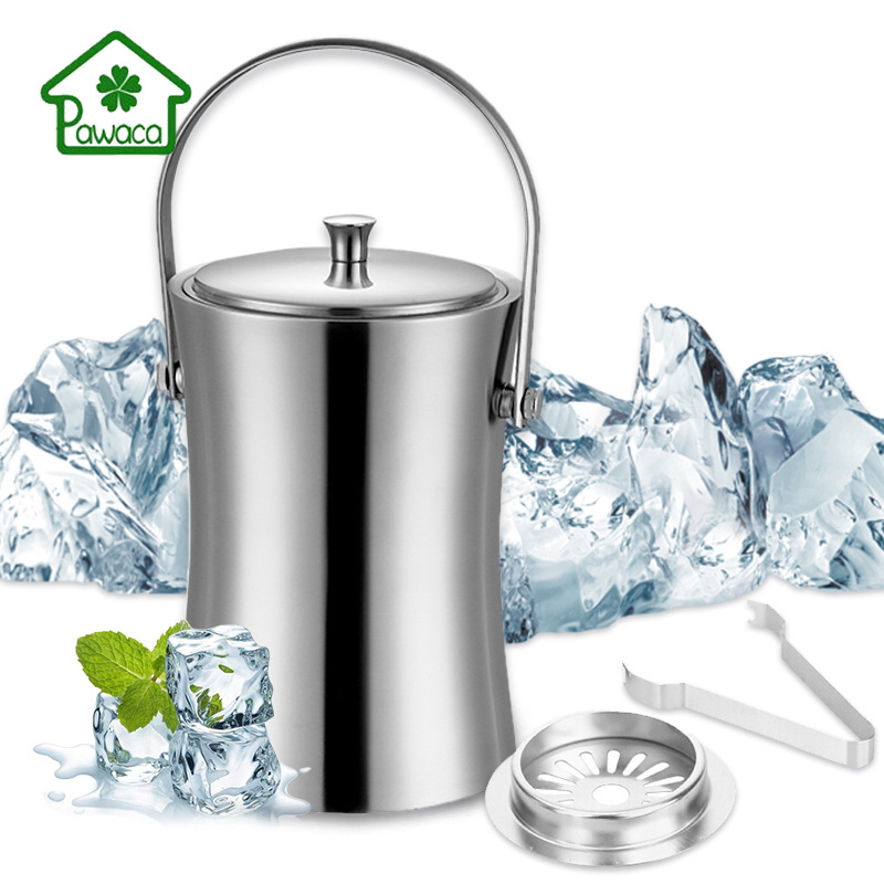 New Slim Waist Stainless Steel Ice Bucket Set Thickened Double Layer Champagne Wine Beer Drinks Cooler Bar Party Ice Bucket 1 2L in Ice Buckets Tongs from Home Garden