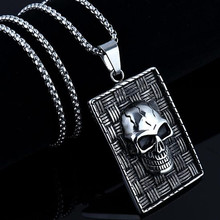 HNSP Punk Tag Skull pendant necklace for men 60cm stainless steel chain jewelry male hnsp big devil skull ring for men punk jewelry male finger gift anel