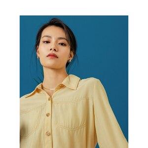 Image 4 - をインマン 2020 春無地ターンダウン襟ポケットデザインシングルブレスト女性長袖シャツ
